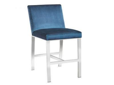 Wellington Blue Velvet Stool