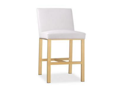 Wellington White Leatherette Gold Counter Stool
