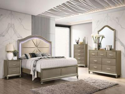 Modern Angel 6 PC Queen Bedroom Set with Gold Leather Padded Headboard by Midha's Furniture Serving Brampton, Mississauga, Etobicoke, Toronto, Scraborough, Caledon, Cambridge, Oakville, Markham, Ajax, Pickering, Oshawa, Richmondhill, Kitchener, Hamilton and GTA area