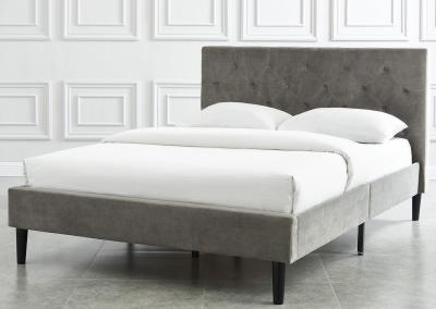 Modern Armando Double Bed in Grey Velvet Upholstery by Midha's Furniture Serving Brampton, Mississauga, Etobicoke, Toronto, Scraborough, Caledon, Cambridge, Oakville, Markham, Ajax, Pickering, Oshawa, Richmondhill, Kitchener, Hamilton and GTA area