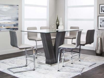 Cramco Glass Top Axel Upholstery Pub Height Dining Table by Midha's Furniture Serving Brampton, Mississauga, Etobicoke, Toronto, Scraborough, Caledon, Cambridge, Oakville, Markham, Ajax, Pickering, Oshawa, Richmondhill, Kitchener, Hamilton and GTA area