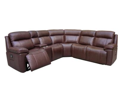Amax Leather Boston Power Recliner Sectional in Chocolate Color Genuine Leather by Midha's Furniture Serving Brampton, Mississauga, Etobicoke, Toronto, Scraborough, Caledon, Cambridge, Oakville, Markham, Ajax, Pickering, Oshawa, Richmondhill, Kitchener, Hamilton and GTA area