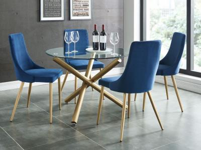 Carmilla 5pc Dining Set, Gold/Blue by Midha's Furniture Serving Brampton, Mississauga, Etobicoke, Toronto, Scraborough, Caledon, Cambridge, Oakville, Markham, Ajax, Pickering, Oshawa, Richmondhill, Kitchener, Hamilton and GTA area