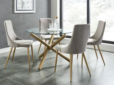 Carmilla 5pc Dining Set, Gold/Grey by Midha's Furniture Serving Brampton, Mississauga, Etobicoke, Toronto, Scraborough, Caledon, Cambridge, Oakville, Markham, Ajax, Pickering, Oshawa, Richmondhill, Kitchener, Hamilton and GTA area