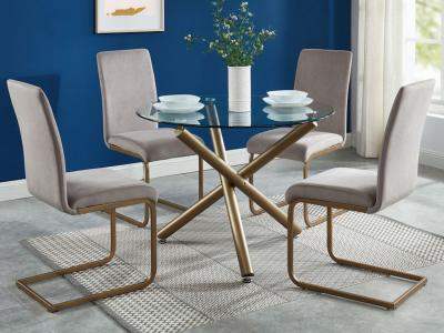 Carmilla/Savion 5pc Dining Set, Gold/Grey by Midha's Furniture Serving Brampton, Mississauga, Etobicoke, Toronto, Scraborough, Caledon, Cambridge, Oakville, Markham, Ajax, Pickering, Oshawa, Richmondhill, Kitchener, Hamilton and GTA area