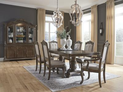 Signature Design by Ashley Charmond 7 PC Dining Set in Brown by Midha's Furniture Serving Brampton, Mississauga, Etobicoke, Toronto, Scraborough, Caledon, Cambridge, Oakville, Markham, Ajax, Pickering, Oshawa, Richmondhill, Kitchener, Hamilton and GTA area