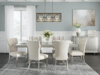 Ashley design mirrored glass accents Chevanna 5 PC Dining Set in Platinum by Midha's Furniture Serving Brampton, Mississauga, Etobicoke, Toronto, Scraborough, Caledon, Cambridge, Oakville, Markham, Ajax, Pickering, Oshawa, Richmondhill, Kitchener, Hamilton and GTA area