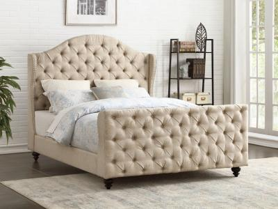Designer Collection Beige Fabric Bed with Diamond Button Tufting by Midha's Furniture Serving Brampton, Mississauga, Etobicoke, Toronto, Scraborough, Caledon, Cambridge, Oakville, Markham, Ajax, Pickering, Oshawa, Richmondhill, Kitchener, Hamilton and GTA area