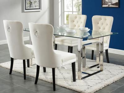 Dropship design Glass Top Eros/Rizzo 5pc Dining Set by Midha's Furniture Serving Brampton, Mississauga, Etobicoke, Toronto, Scraborough, Caledon, Cambridge, Oakville, Markham, Ajax, Pickering, Oshawa, Richmondhill, Kitchener, Hamilton and GTA area