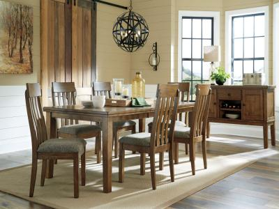 Ashley design Flaybern 7 PC Dining Set in Brown by Midha's Furniture Serving Brampton, Mississauga, Etobicoke, Toronto, Scraborough, Caledon, Cambridge, Oakville, Markham, Ajax, Pickering, Oshawa, Richmondhill, Kitchener, Hamilton and GTA area
