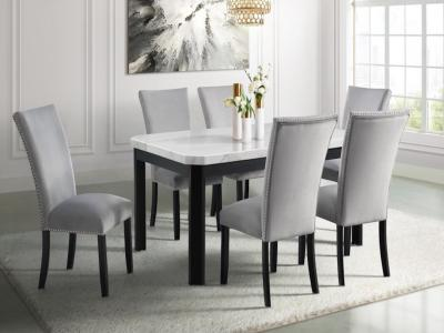Francesca Marble Dining Table Set (Table + 4 Chairs) by Midha's Furniture Serving Brampton, Mississauga, Etobicoke, Toronto, Scraborough, Caledon, Cambridge, Oakville, Markham, Ajax, Pickering, Oshawa, Richmondhill, Kitchener, Hamilton and GTA area