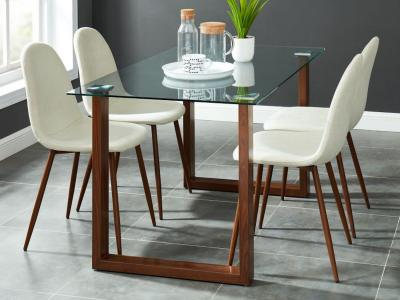 Franco/Lyna 5pc Dining Set, Walnut/Beige by Midha's Furniture Serving Brampton, Mississauga, Etobicoke, Toronto, Scraborough, Caledon, Cambridge, Oakville, Markham, Ajax, Pickering, Oshawa, Richmondhill, Kitchener, Hamilton and GTA area