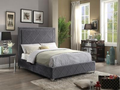 IFDC Modern Grey Velvet Queen Fabric Bed by Midha's Furniture Serving Brampton, Mississauga, Etobicoke, Toronto, Scraborough, Caledon, Cambridge, Oakville, Markham, Ajax, Pickering, Oshawa, Richmondhill, Kitchener, Hamilton and GTA area