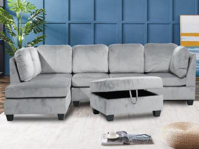 Grey Velvet Reversible Sectional W/Ottoman by Midha's Furniture Serving Brampton, Mississauga, Etobicoke, Toronto, Scraborough, Caledon, Cambridge, Oakville, Markham, Ajax, Pickering, Oshawa, Richmondhill, Kitchener, Hamilton and GTA area