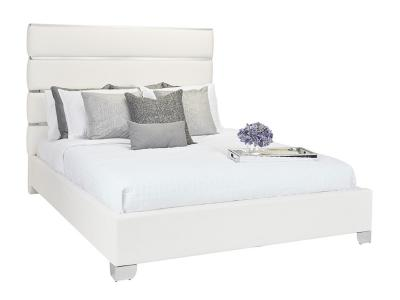Xcella Hanne King Bed in White Leatherette by Midha's Furniture Serving Brampton, Mississauga, Etobicoke, Toronto, Scraborough, Caledon, Cambridge, Oakville, Markham, Ajax, Pickering, Oshawa, Richmondhill, Kitchener, Hamilton and GTA area