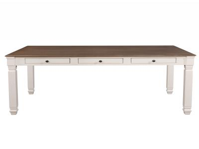 HIGHLANDS-DINING TABLE-ANTIQUE WHITE/OAK