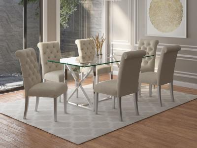 Worldwide design Glass Top Lorenzo/Chloe 5pc Dining Set, Chrome/Beige by Midha's Furniture Serving Brampton, Mississauga, Etobicoke, Toronto, Scraborough, Caledon, Cambridge, Oakville, Markham, Ajax, Pickering, Oshawa, Richmondhill, Kitchener, Hamilton and GTA area