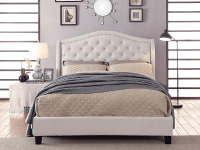 Louvre Queen Size Bed (Light) with Luxurious Velveteen Upholstery by Midha's Furniture Serving Brampton, Mississauga, Etobicoke, Toronto, Scraborough, Caledon, Cambridge, Oakville, Markham, Ajax, Pickering, Oshawa, Richmondhill, Kitchener, Hamilton and GTA area