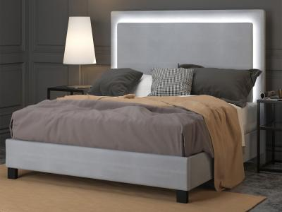 LUMINA GREY Queen Bed with Dimmable LED Light by Midha's Furniture Serving Brampton, Mississauga, Etobicoke, Toronto, Scraborough, Caledon, Cambridge, Oakville, Markham, Ajax, Pickering, Oshawa, Richmondhill, Kitchener, Hamilton and GTA area