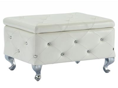 MONIQUE-SINGLE STORAGE OTTOMAN-WHITE