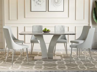 Napoli/Devo 7pc Dining Set in Grey by Midha's Furniture Serving Brampton, Mississauga, Etobicoke, Toronto, Scraborough, Caledon, Cambridge, Oakville, Markham, Ajax, Pickering, Oshawa, Richmondhill, Kitchener, Hamilton and GTA area