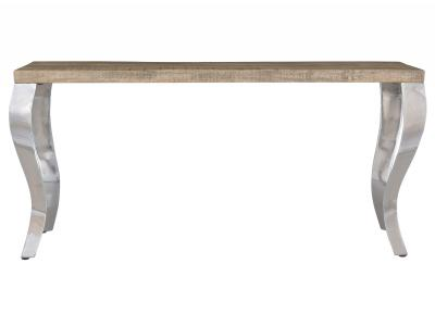 NATALIA-CONSOLE TABLE-RECLAIMED/CHROME
