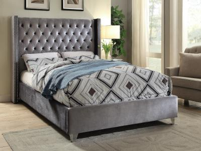 IFDC Modern Queen Grey Velvet Bed by Midha's Furniture Serving Brampton, Mississauga, Etobicoke, Toronto, Scraborough, Caledon, Cambridge, Oakville, Markham, Ajax, Pickering, Oshawa, Richmondhill, Kitchener, Hamilton and GTA area