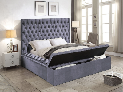 Modern Storage Queen Size Velvet Fabric Bed by IFDC by Midha's Furniture Serving Brampton, Mississauga, Etobicoke, Toronto, Scraborough, Caledon, Cambridge, Oakville, Markham, Ajax, Pickering, Oshawa, Richmondhill, Kitchener, Hamilton and GTA area