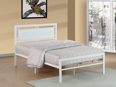 IFDC Single White Metal Bed by Midha's Furniture Serving Brampton, Mississauga, Etobicoke, Toronto, Scraborough, Caledon, Cambridge, Oakville, Markham, Ajax, Pickering, Oshawa, Richmondhill, Kitchener, Hamilton and GTA area