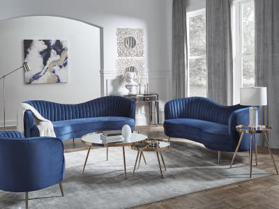 Sophia Velvet Blue Sofa & Love Seat by Midha's Furniture Serving Brampton, Mississauga, Etobicoke, Toronto, Scraborough, Caledon, Cambridge, Oakville, Markham, Ajax, Pickering, Oshawa, Richmondhill, Kitchener, Hamilton and GTA area