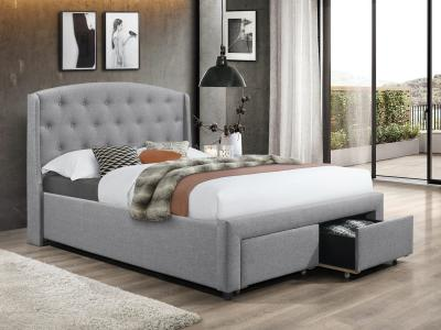 IFDC Tufted Grey Modern Queen Storage Bed by Midha's Furniture Serving Brampton, Mississauga, Etobicoke, Toronto, Scraborough, Caledon, Cambridge, Oakville, Markham, Ajax, Pickering, Oshawa, Richmondhill, Kitchener, Hamilton and GTA area
