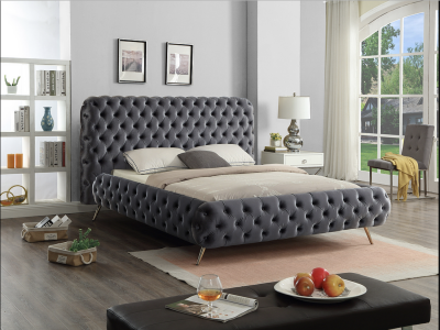 Modern Stylish Grey Velvet Fabric Bed With Deep Tufting by Midha's Furniture Serving Brampton, Mississauga, Etobicoke, Toronto, Scraborough, Caledon, Cambridge, Oakville, Markham, Ajax, Pickering, Oshawa, Richmondhill, Kitchener, Hamilton and GTA area