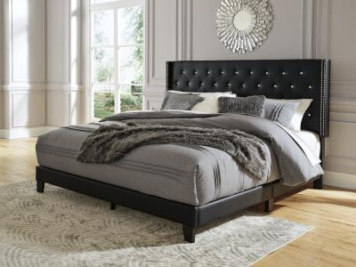 Ashley Vintasso Queen Size Bed in Black Faux Leather by Midha's Furniture Serving Brampton, Mississauga, Etobicoke, Toronto, Scraborough, Caledon, Cambridge, Oakville, Markham, Ajax, Pickering, Oshawa, Richmondhill, Kitchener, Hamilton and GTA area