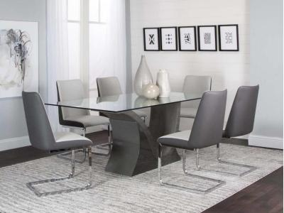 Cramco Glass Top Wave 5 PC Dining Set by Midha's Furniture Serving Brampton, Mississauga, Etobicoke, Toronto, Scraborough, Caledon, Cambridge, Oakville, Markham, Ajax, Pickering, Oshawa, Richmondhill, Kitchener, Hamilton and GTA area