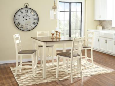 Ashley Woodanville 5 PC Square Counter Table Set in Elegant White Finish by Midha's Furniture Serving Brampton, Mississauga, Etobicoke, Toronto, Scraborough, Caledon, Cambridge, Oakville, Markham, Ajax, Pickering, Oshawa, Richmondhill, Kitchener, Hamilton and GTA area
