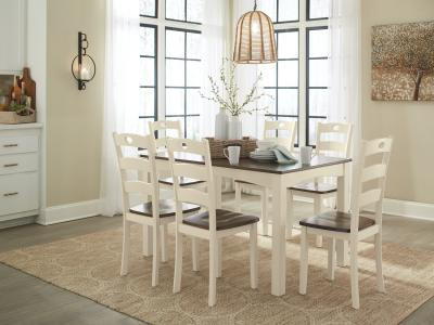 Signature Design by Ashley Woodanville 7 PC Dining Room Table Set in Cream/Brown by Midha's Furniture Serving Brampton, Mississauga, Etobicoke, Toronto, Scraborough, Caledon, Cambridge, Oakville, Markham, Ajax, Pickering, Oshawa, Richmondhill, Kitchener, Hamilton and GTA area
