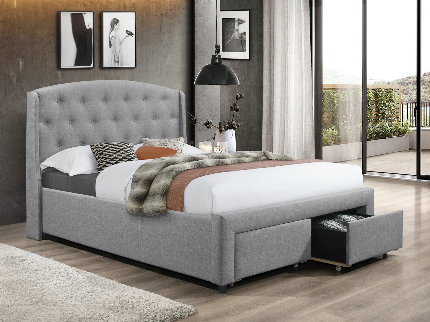 IFDC Tufted Grey Modern Queen Storage Bed, IF-5290, Beds, IFDC Tufted Grey Modern Queen Storage Bed from IFDC